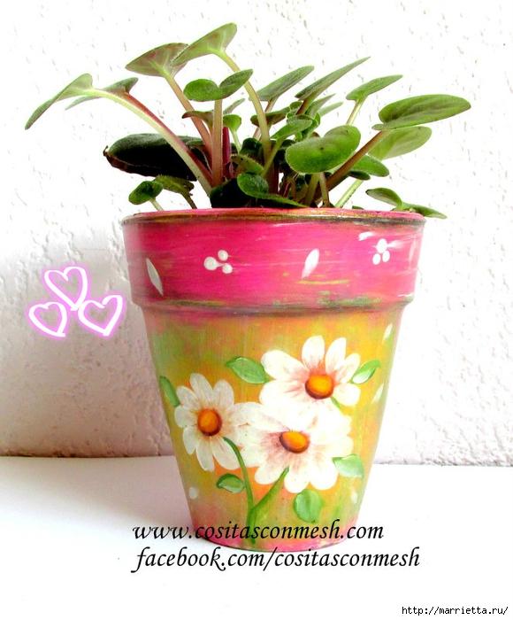 Ромашки на цветочном горшке. Идея росписи (3) (580x700, 263Kb)