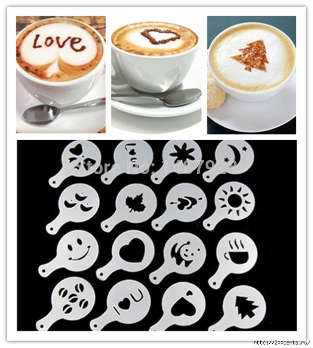 Free shipping 16Pcs/set Fashion Cappuccino Coffee Barista Stencils Template Strew Pad Duster Spray Tools AF019/1436105737_Freeshipping16PcssetFashionCappuccinoCoffeeBaristaStencilsTemplateStrewPadDusterSprayToolsAF019 (630x700, 192Kb)