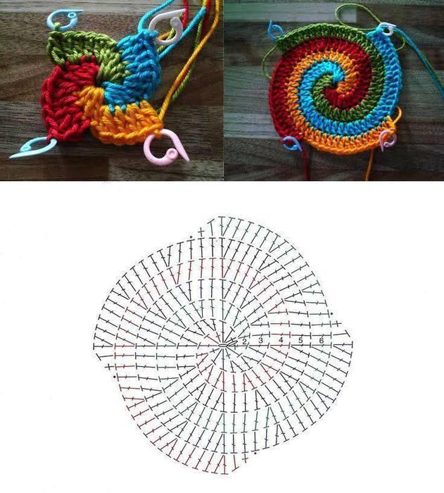 Помпон квадрат спиралью схема
