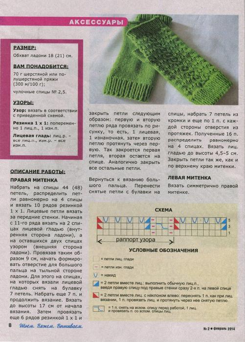 Митенки, связанные спицами,  Вязание для женщин
