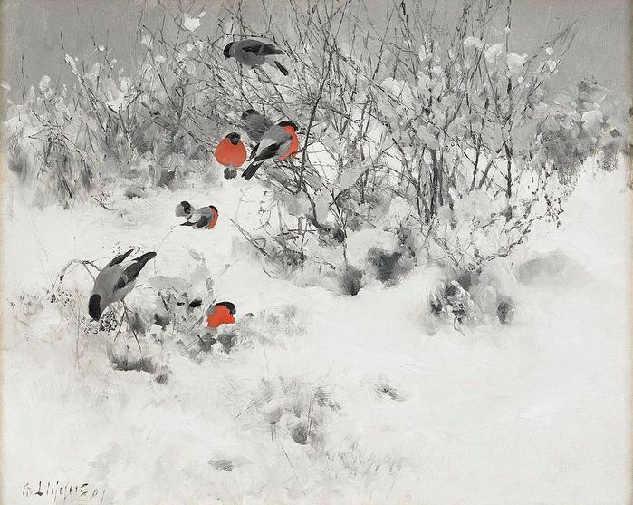 Bruno_Liljefors_-_Winter_landscape_with_bullfinches_1891 (700x557, 374Kb)