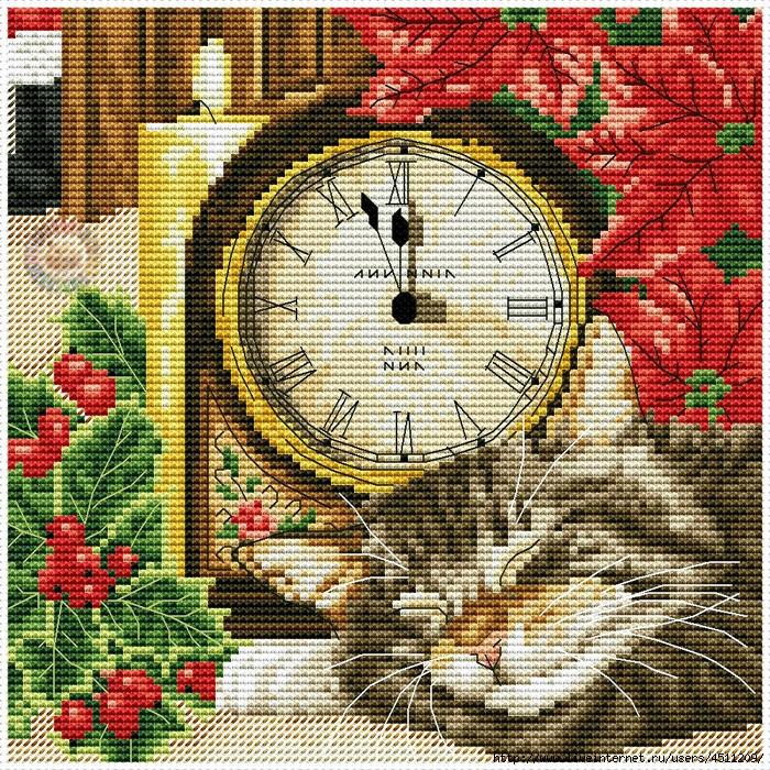 Кот с часами (700x700, 744Kb)