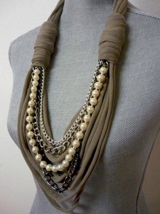 Ожерелье с шарфом своими руками