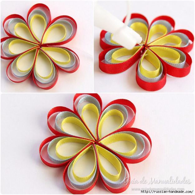 Декор заколки для волос цветами из ленточек (4) (626x626, 238Kb)
