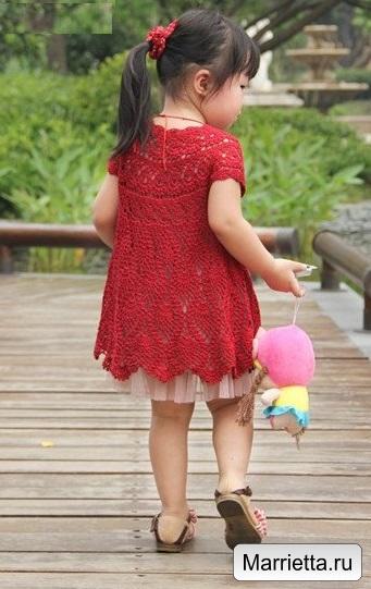 Летнее платье крючком узором ананас для девочки (4) (341x541, 181Kb)