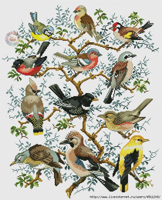 Tree with birds (565x700, 496Kb)