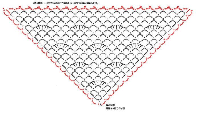 Вязание треугольной сетки крючком