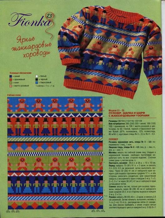 Многоцветное вязание спицами для детей 25