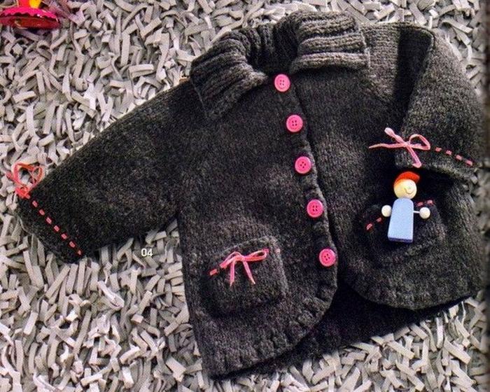 Как связать карман на детскую кофточку