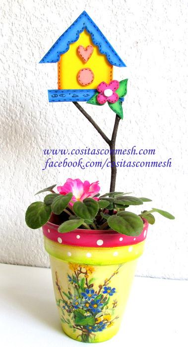 Домики из фоамирана для украшения цветочных горшочков (9) (379x700, 281Kb)