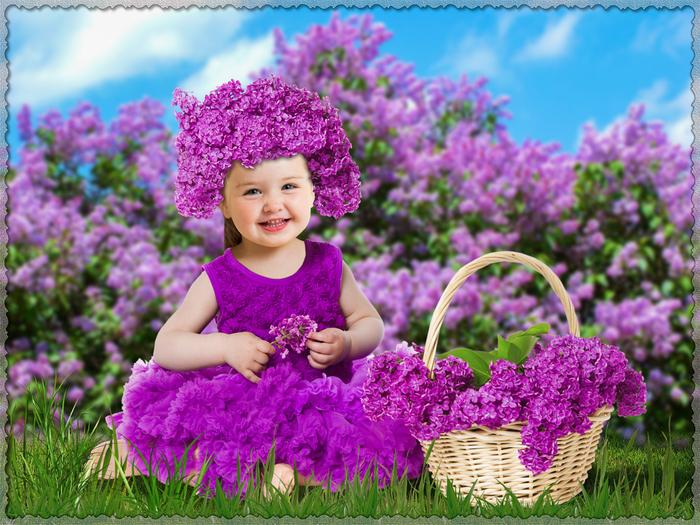 Шаблон для фотошопа - Девочка на природе в сирени (700x525, 450Kb)