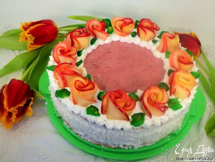 Торт с яблочно-малиновым суфле и с розочками из яблок (12) (700x527, 193Kb)