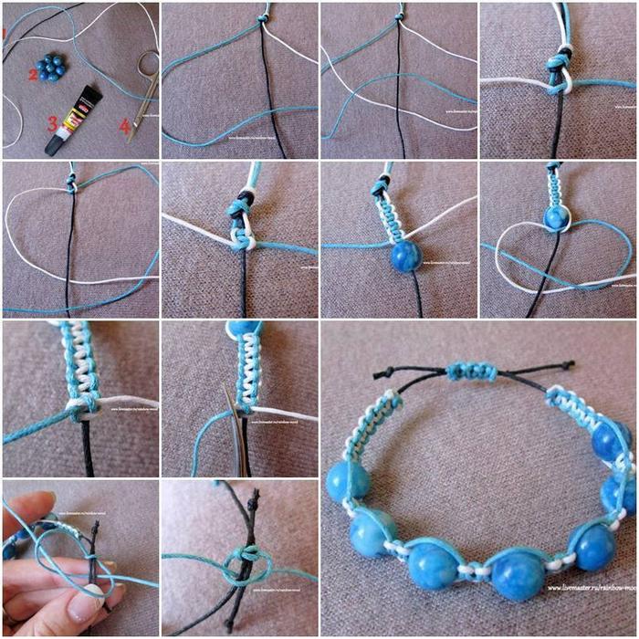 Как сделать браслет в один ряд