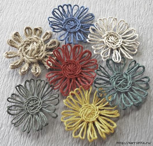 Цветочки из цветного шпагата. Мастер-класс (10) (530x507, 280Kb)