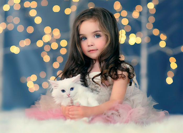 Шаблон для фотошопа - Девочка с белым котиком (700x510, 285Kb)