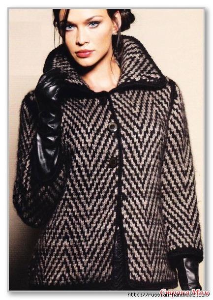 Короткое пальто спицами жаккардовым узором (1) (433x610, 219Kb)