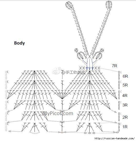 Вяжем крючком БАБОЧКУ. Схемы (5) (571x592, 151Kb)