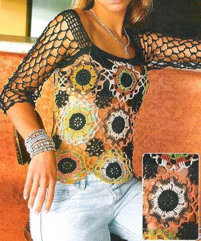 Blusa de Croche com Rosetas Coloridas (400x480, 526Kb)