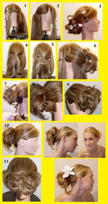 пошаговое выполнения прически на выпускной на длинные волосы