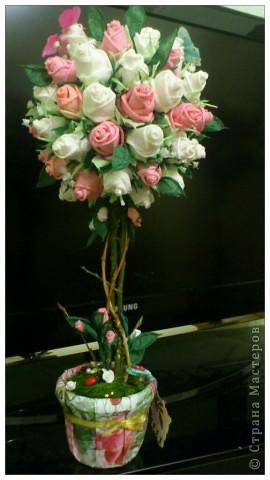 Дерево из роз своими руками фото
