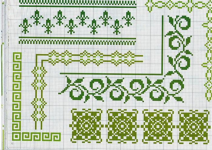 Схемы бордюров для вышивки 735