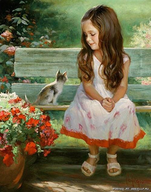 Девочка с котенком (500x632, 80Kb)