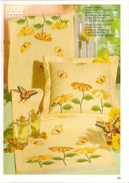 Вышивка на желтой канве