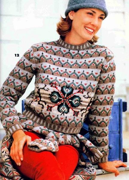 Пуловер с оленями (жаккард).