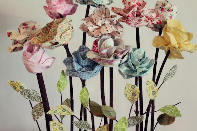 Long Stemmed Fabric Flowers. стронг Цветы из ткани.бр/бр.