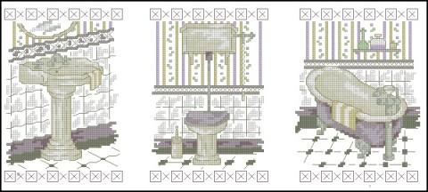 Схемы для вышивки крестом туалет ванная