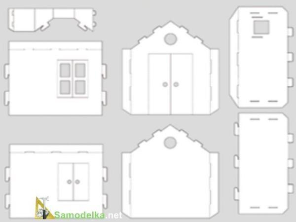 Домики из картона своими руками схемы для детей