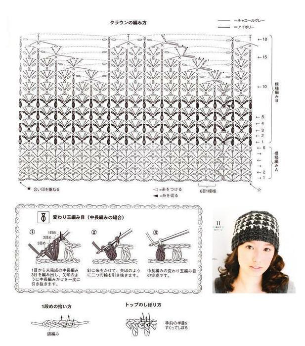 шапка вязаная крючком схема. schapka_kruchkom (2) .