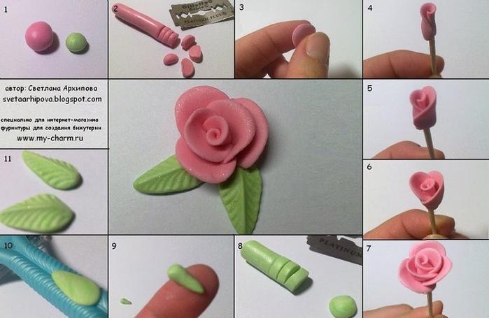 Розочка из полимерной глины.  Бусины.  Материалы: - полимерная глина, - лезвие или канцелярский нож, - зубочистка.