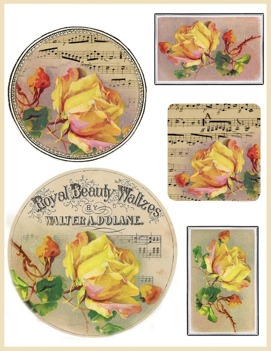 French sheet music and yellow rose tags (540x700, 291Kb)