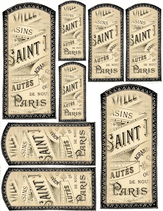 French Vanilla label tags collage sheet (540x700, 383Kb)