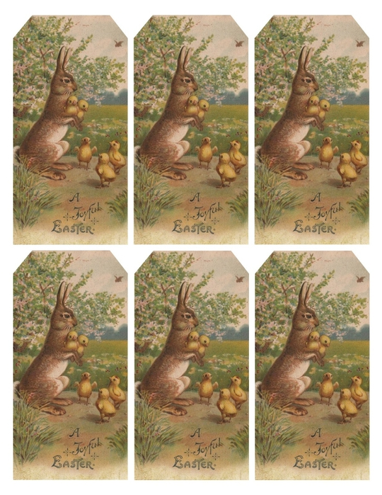 Easter bunny & chicks tags (540x700, 311Kb)