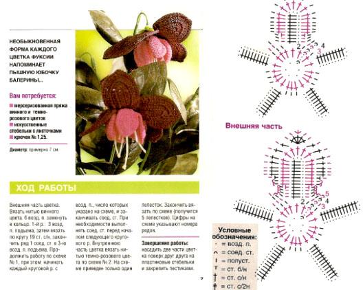 вязаные цветы фуксии (528x422, 103Kb)
