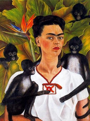 Frida_Kalo_Avtoportret_s_obezyanami_1943_Kollekciya_Gelman_Mehiko Автопортрет с попугаями 1941 (349x465, 38Kb)