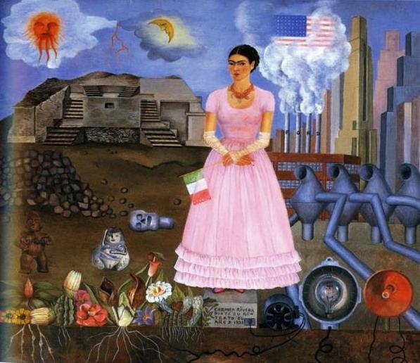 Автопортрет на границе Мексики и Соединенных Штатов Америки 1932 (597x516, 104Kb)