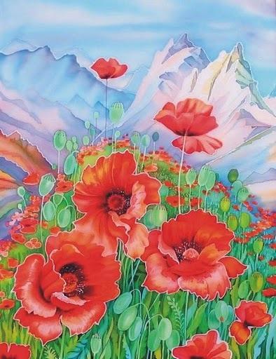 Марка нитей.  251x300 крестов.  Вышивка крестом. цветы.  Теги.  Miss_iks. маки.  Альпийские маки. горы. альпы.