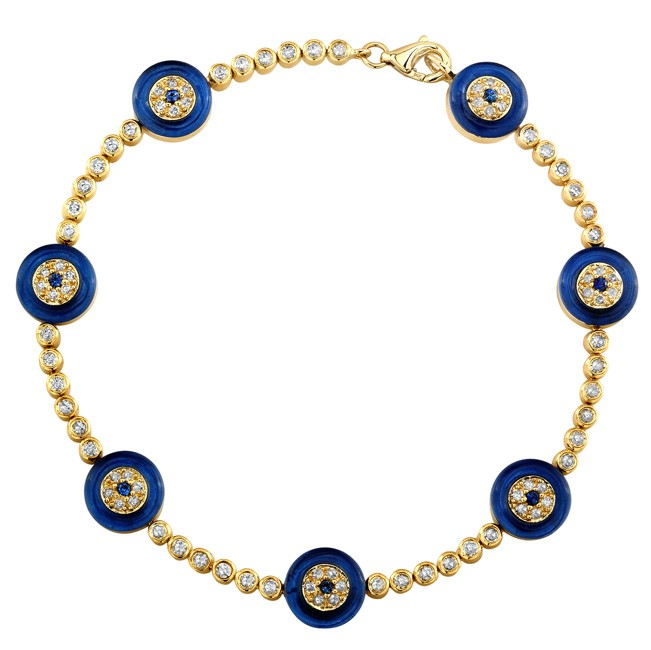Coby Madison Evil Eye Diamond Bracelet Dark Blue Glass Eyes (651x650, 55Kb)