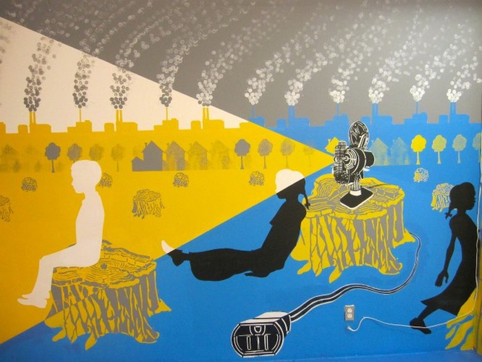 Граффити стрит-арт художника Roadsworth 1 (700x525, 89Kb)