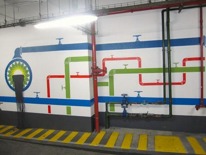 Граффити стрит-арт художника Roadsworth 3 (700x525, 78Kb)