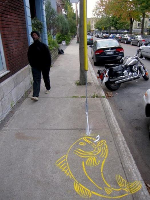 Граффити стрит-арт художника Roadsworth 18 (525x700, 356Kb)