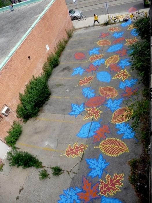 Граффити стрит-арт художника Roadsworth 25 (525x700, 422Kb)