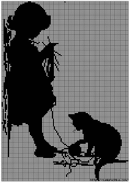 Вышивка крестом белым по чёрному 679