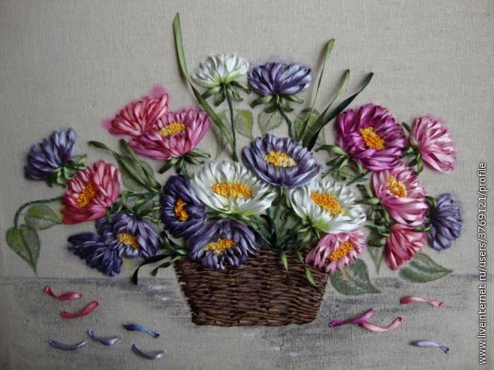 Корзинка с цветами вышивка лентами