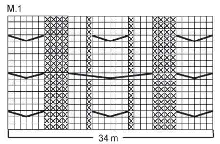 Схема вязанного спицами снуда.