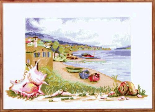 Набор для вышивания крестом Морской пейзаж с ракушкой.