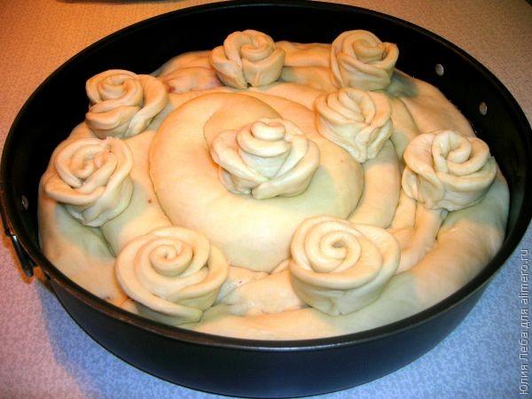 Как из теста сделать розочку на пирог с 972